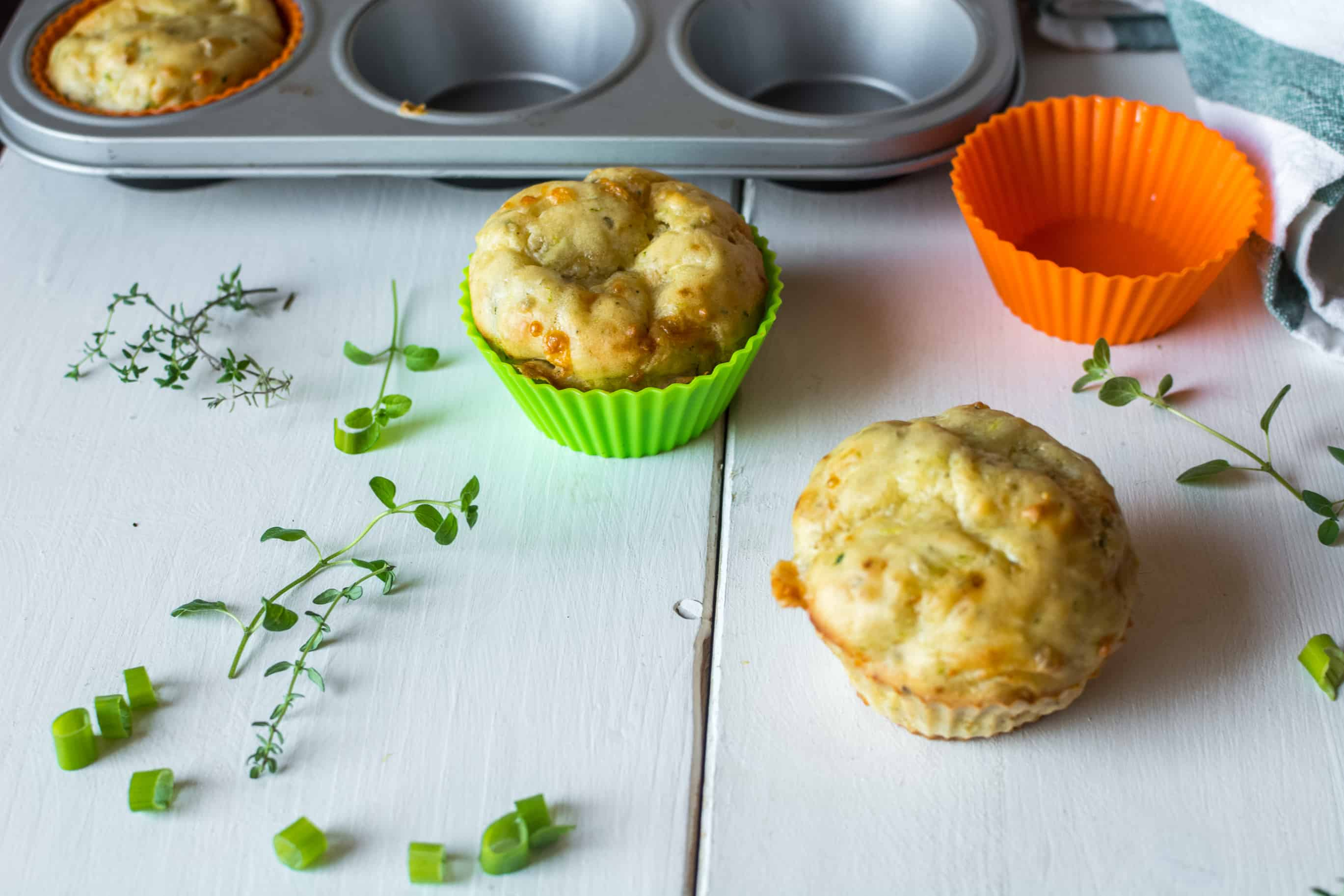 Easy Healthy Savory Zucchini Cheddar Cheese Muffins Recipe